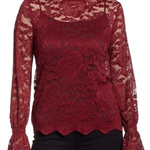 Everleigh Women's Stretch Lace Top Burgundy P Med